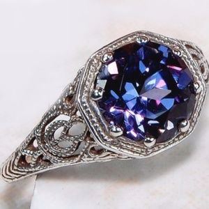 2CT Color Changing Alexandrite .925 Ring Size 6